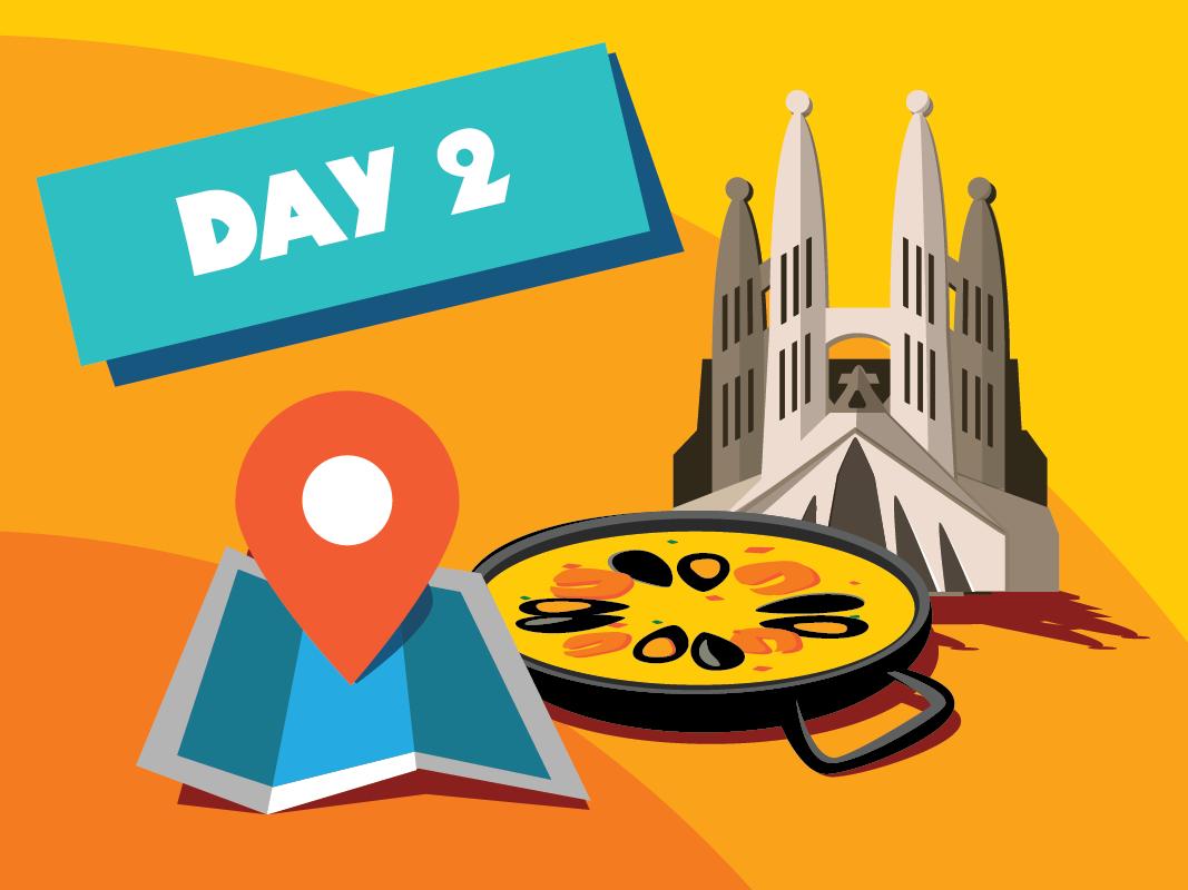 Day 2 - HOWW18 barcelona spain location pin location paella sagrada familia