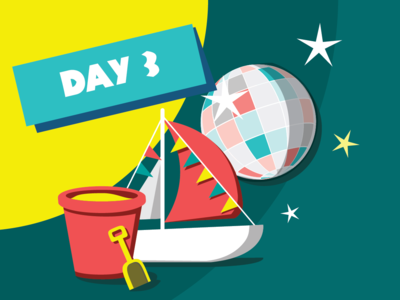 Day 3 - HOWW18 illustration party stars disco discoball bucket boat