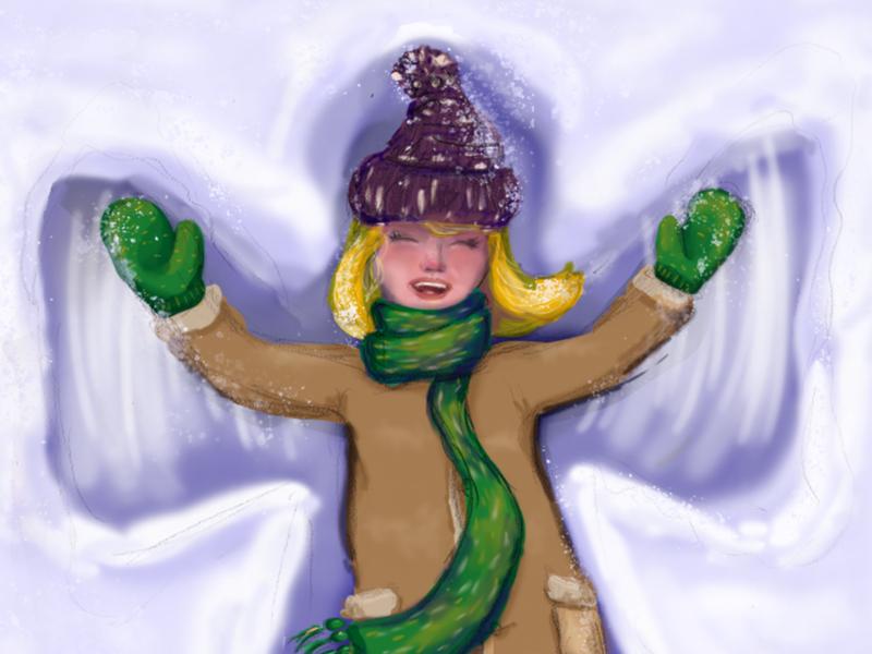Snow angel winterjoy hike one illustration christmas card christmas snowangel joyful joy snow winter