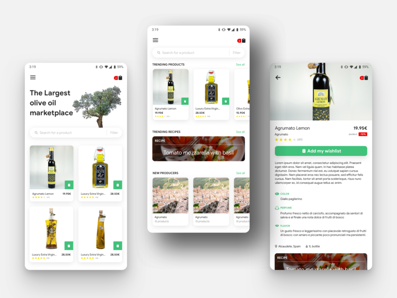Marketplace Application Design wishlist cart filter search selling ecommerce android mobile recipe olive oil markeplace