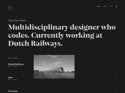 tibor.work — portfolio development typography identity visual design design