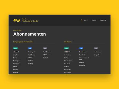 NS Technology Radar vue.js development website typography visual design ux