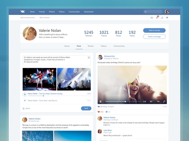Redesign vk.com social video player media music photo vk concept post facebook profile free