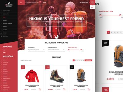 Grouse Creek ecommerce design image black eshop shop boots hiking trekking red ecommerce wip design