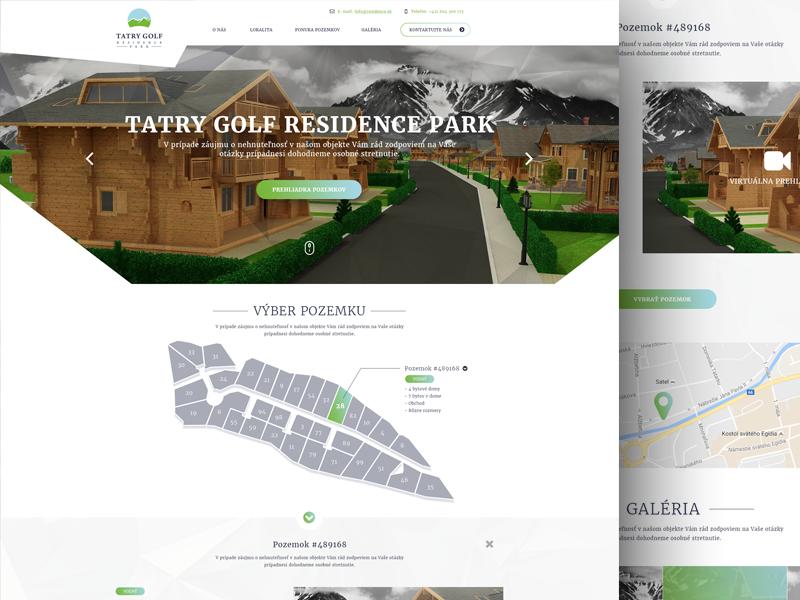 Tatry Golf Residence Park clear white website 3d green flat map identity webdesign web slovakia