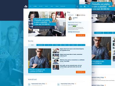 CSOB Bank Intranet website (concept art) concept shadow flat clear orange people image slider banking blue web 3.0 website concept intranet bank design sketch web  design layout website web