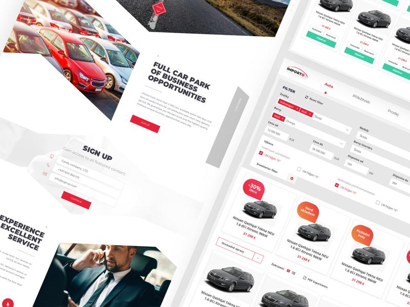 Importo - Car Park Web & Web app ux ui german business filter orange white red branding sketch design we design webdesign webapplication webapp carpark clear web car app