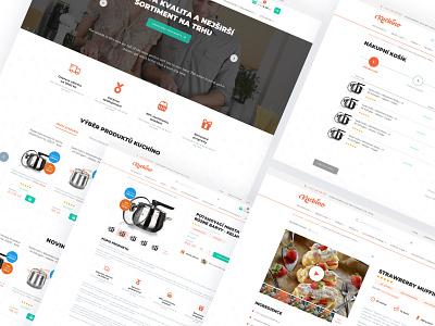 Kuchino e-commerce website design photo orange webdesign clear ui web design ux ui product card product images icons minimalism flat shop eshop kitchen ecommerce website web design