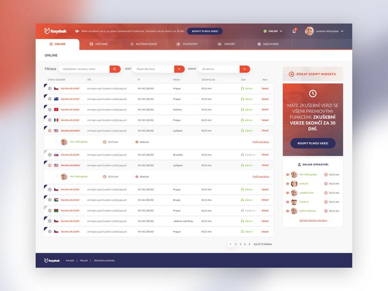 Foxydesk web application UI desktop design app ux browser dash users dashboard blocks operator applicaiton app orange flat sketch webdesign web clear ui