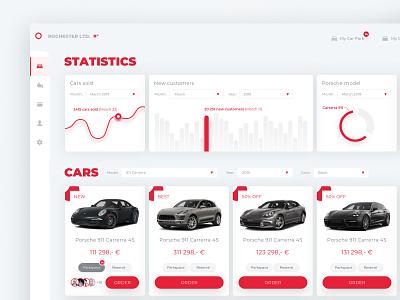 Car Park web application (concept) rebound stats buy ecommerce app branding minimalism minimal red auto application app webdesign web  design design ui clear sketch flat web