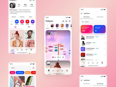 Instagram redesign 2 app design app ui app insta ui insta design insta app instagram app insta instagram brand ux design ux ui design inspiration ui design