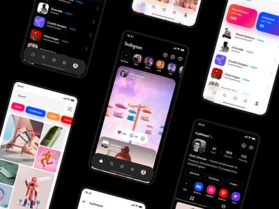 Instagram app Dark Mode app designer insta design insta ui instagram app instagram apple application app design app ux design ux ui design inspiration ui design