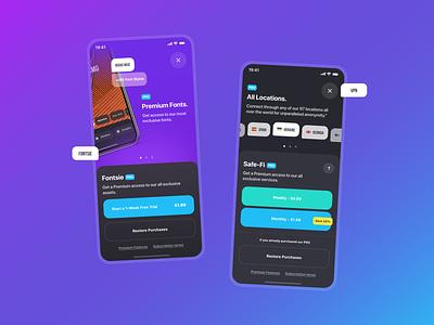 Fontsie & VPN App application app design apple app ux ui design inspiration ui design