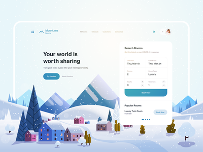 Mountain Resorts UI illustration hotel booking hotel booking mountains ui mountains web design ux design web ux ui design inspiration ui design