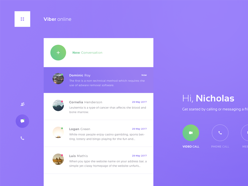 Personal 01: Viberonline by Nicholas design on Dribbble