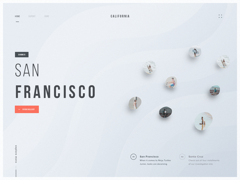 California web clean ui design california