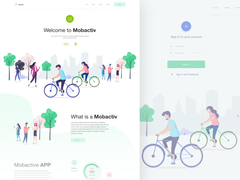 Mobactiv app Landing illustration ux design inspiration ux web design web ui design design ui
