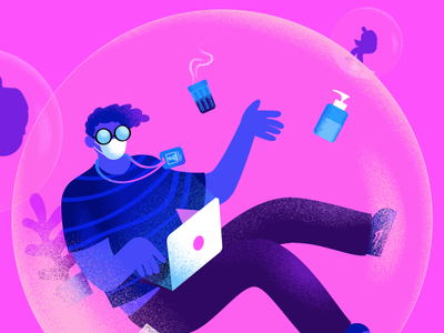 Back to work? work workplace podcast pandemic noise illustration grain design covid19 colorful brazil b9