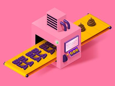 Media Training blabla illustration isometric candy pink adobe illustrator editorial media training podcast b9