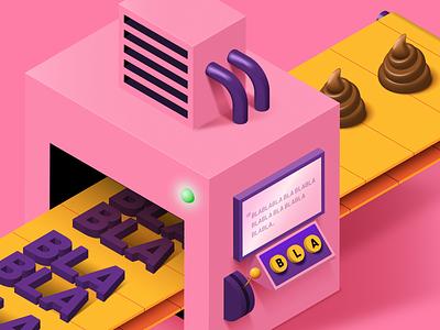 Media Training podcast pink media training isometric illustration editorial candy blabla b9 adobe illustrator