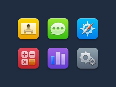 Minimally Skeuomorphic ios icon iphone compass safari app apple gold metal plastic minimal calculator settings contacts messages numbers flat ios 7