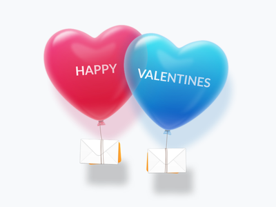 Happy Valentines illustration balloon mail 3d sketch icon realistic valentines email promo