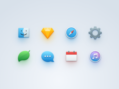 Simple Icons safari itunes calendar chat imessage settings finder sketch coda colors icon simple