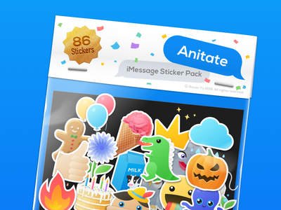 Anitate -  86 Animated Stickers for iMessage colorful emoji cartoon cute animated animation sticker pack stickers messages imessage