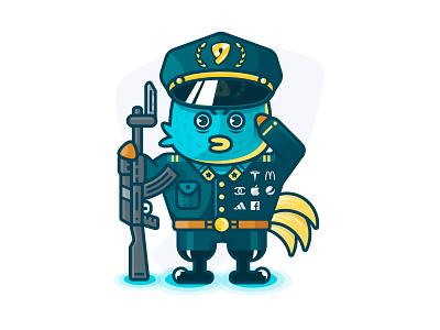 Logo chicken badge logo ak47 gun cyan soldier color chicken illustration character