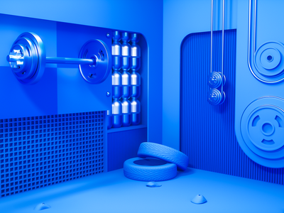 3D fitness room nanjing design company conine design blue space blue room museum fitness 3d space space design room 3d graphic illustration design