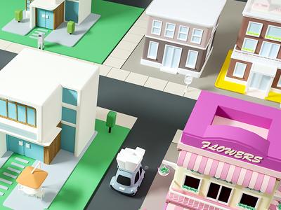 3D house conine design city ui game cinema4d cute cat house 3d