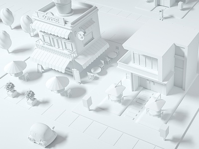 White 3D element cute store coffee city game game ui 3d elements 3d stuff