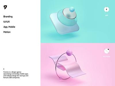 Conine_what we do animation vector typography concept motion cinema 4d 3d art c4d branding website graphic ui 3d brand conine design