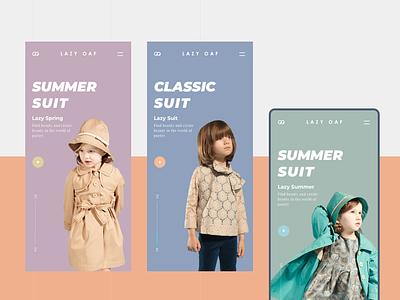 website pages for mobile typography interface children website clothes shop branding kids conine design