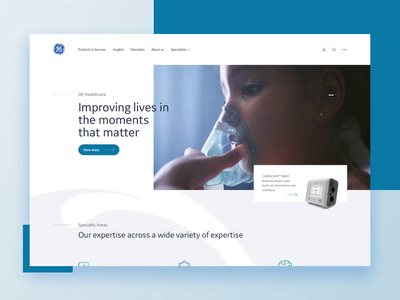 GE Healthcare covid hospital child video white blue concept page ui design medical doctors healthcare ge parallax animation uidesign landing website landing page