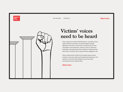Justice For Beirut Landing Page typography ui design ui illustration website law landing page lawyers lebanon beirut