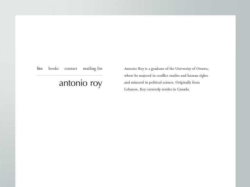 Author Antonio Roy - Website typography logo serifandsans canada minimalist design website ottawa author