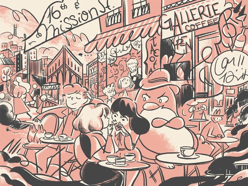 Brunchies: 16th & Mission penguin mission district san francisco cafe brunch city pink monotone expressive illustration