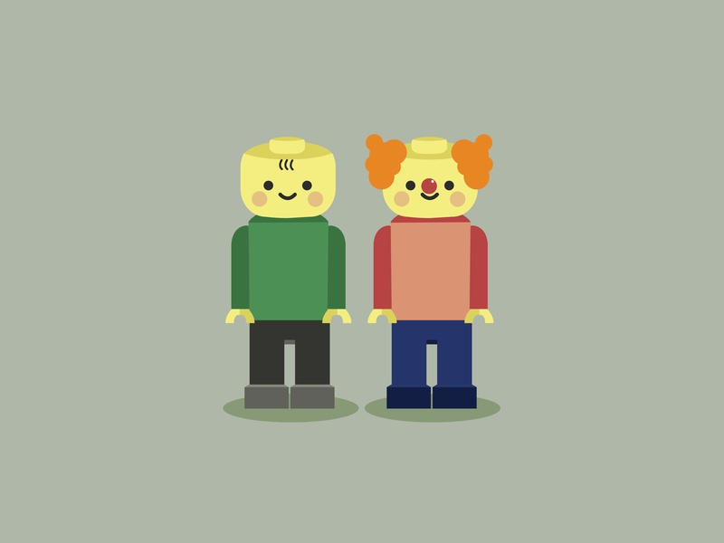 Lego legoland miniature figurine contrast dribbble cute vector illustration story toystore figure friendship friend blocks clown play kid toy man lego