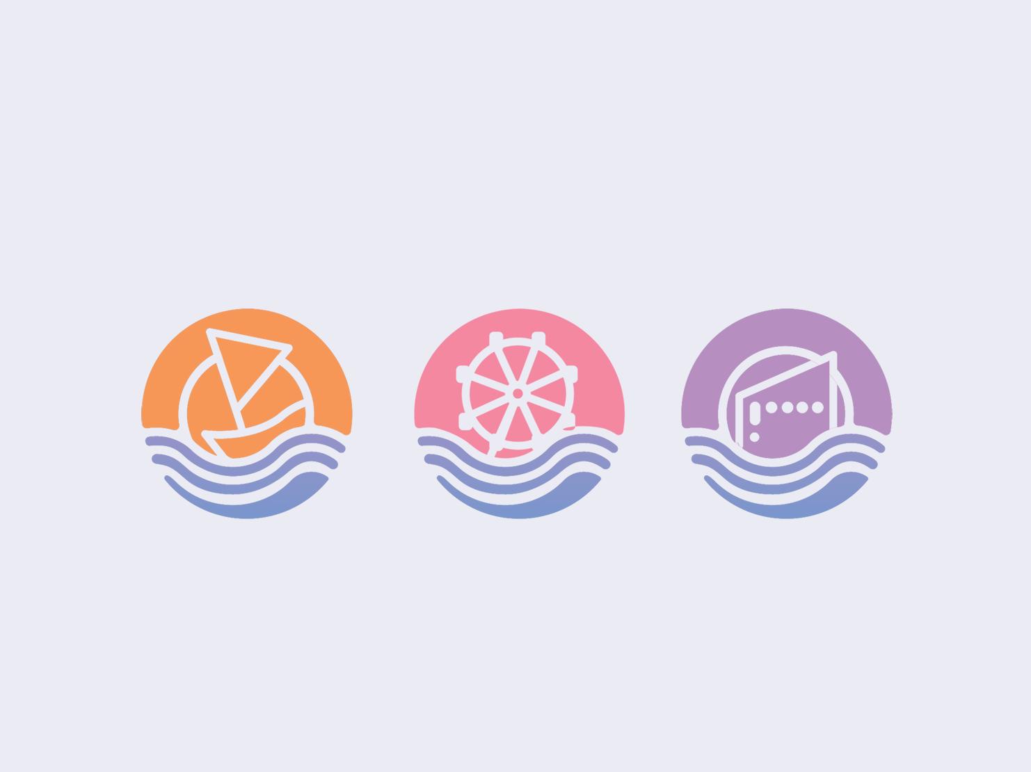 Seaside Landmark logo ride fun home residence building waves sun water coworking space coworking office work park amusement park ocean ferris wheel sea boat seaside