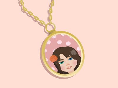 Locket necklace classic peach femme blush pretty pink memory golden chain flower rose photos gold locket girl cute dribbble vector illustration