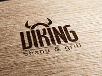 Viking Logo Concept adaptation on burn wood