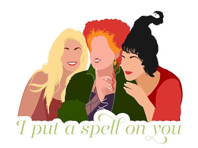 I put a spell on you... sanderson disney hocus pocus 90s halloween illustration