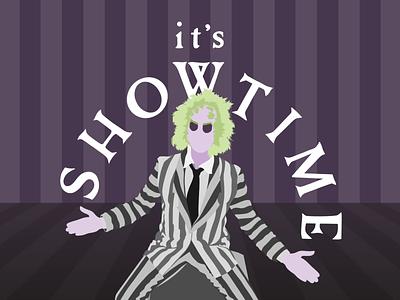 it's showtime minimalist 90s 80s halloween illustration beetlejuice