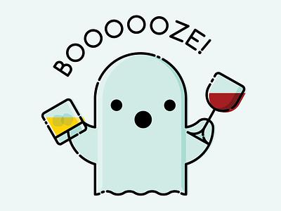 BOOOOOZE adobe illustrator pun wine whiskey halloween ghost design color and lines illustration