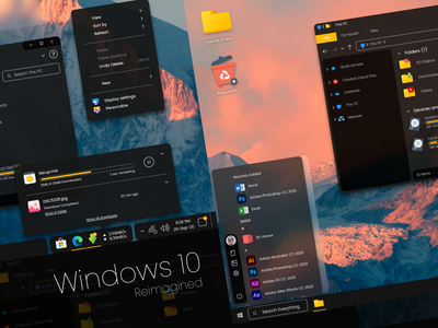 Windows 10 - Redesign Concept redesign windows app icon wallpaper clock menu start start menu taskbar downloader home design desktop branding rounded corner microsoft explorer windows 10 windows ui