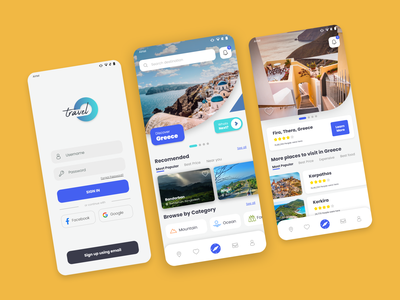 Travel O - Travel app ui design ui  ux interface yellow app branding traveling traveler ocean user interface userinterface navbar login ui travel agent travel agency location travel app travel uiux blue debut