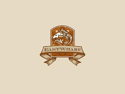 EastWharf logo sea food icon typography logotype fish restaurant logo