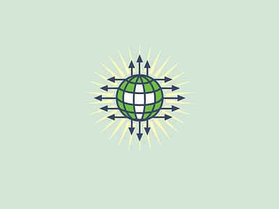 Go into the world and teach to all nations burst arrow icon logo globe