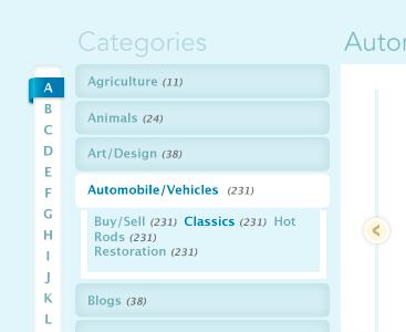 Multi-tiered category UI